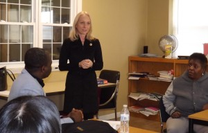 Literacy Students ask questions of U.S. Congress Member Mary Gay Scanlon.